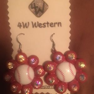 Jewelry - Baseball rhinestone earrings